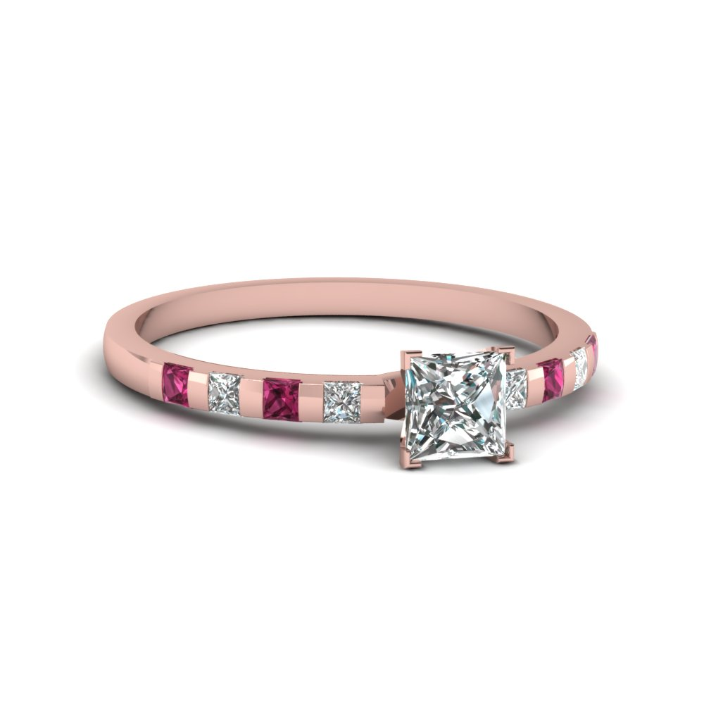 rose gold princess white diamond engagement wedding ring with dark pink sapphire in channel set FDENS3100PRRGSADRPI NL RG 30