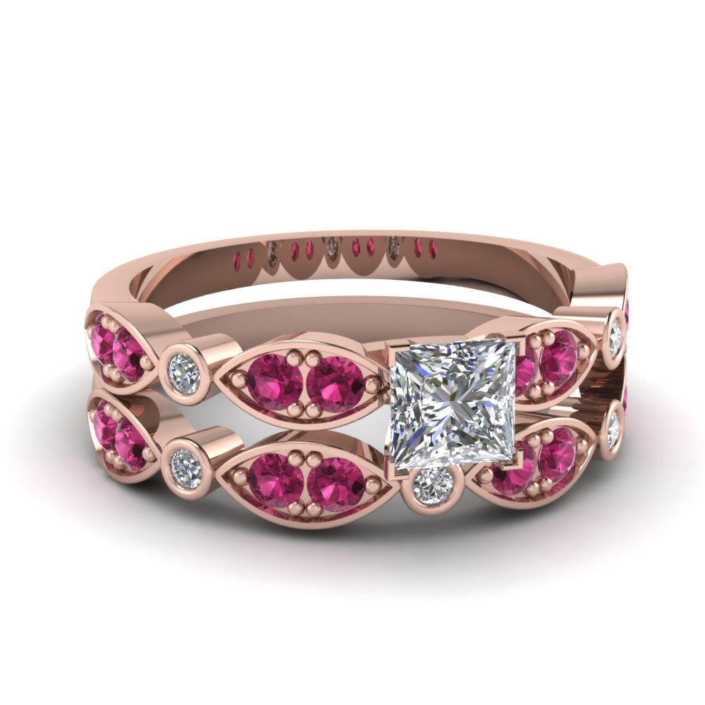 art deco princess cut diamond wedding ring set with pink sapphire in FDENS2035PRGSADRPI NL RG
