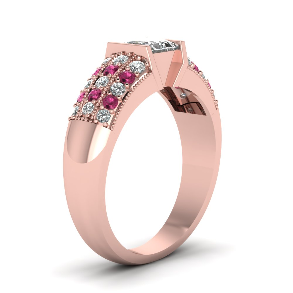 Rose Gold Princess White Diamond Engagement Wedding Ring With Dark ...