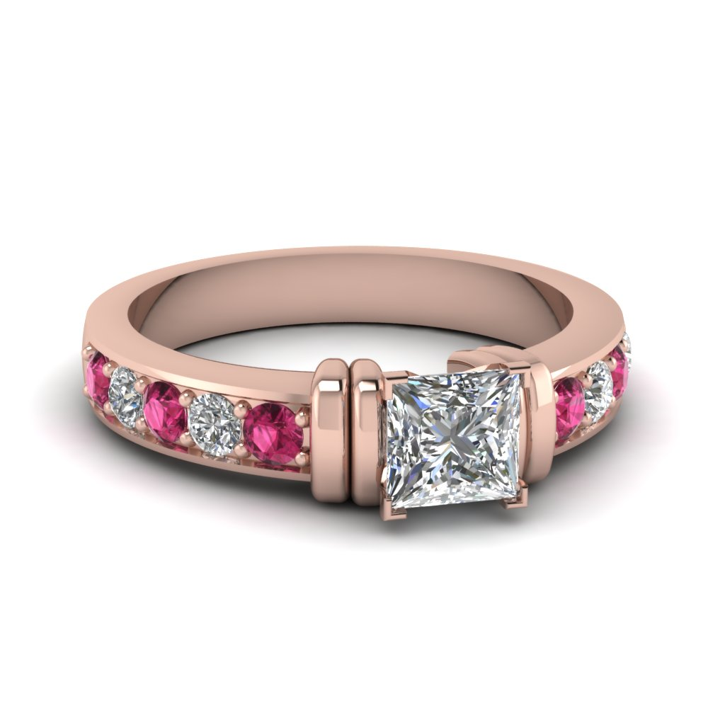 simple bar set princess cut moissanite engagement ring with pink sapphire in FDENR957PRRGSADRPI Nl RG