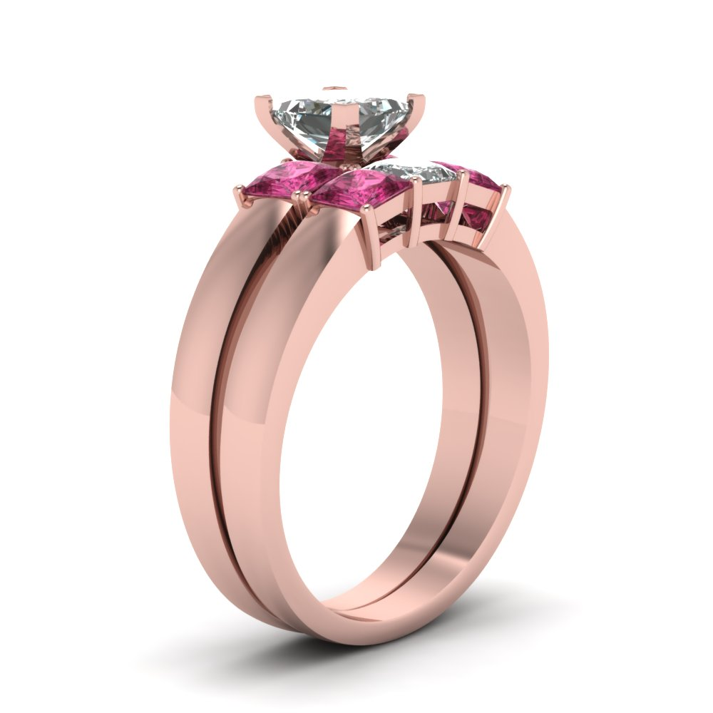Dainty 3 Stone Princess Cut Wedding Ring Set With Pink Sapphire In ...