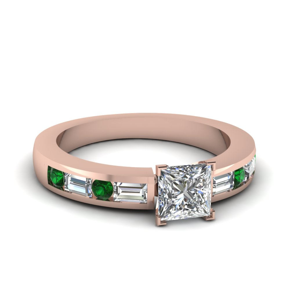 channel set baguette princess cut diamond engagement ring with emerald in FDENS567PRRGEMGR NL RG