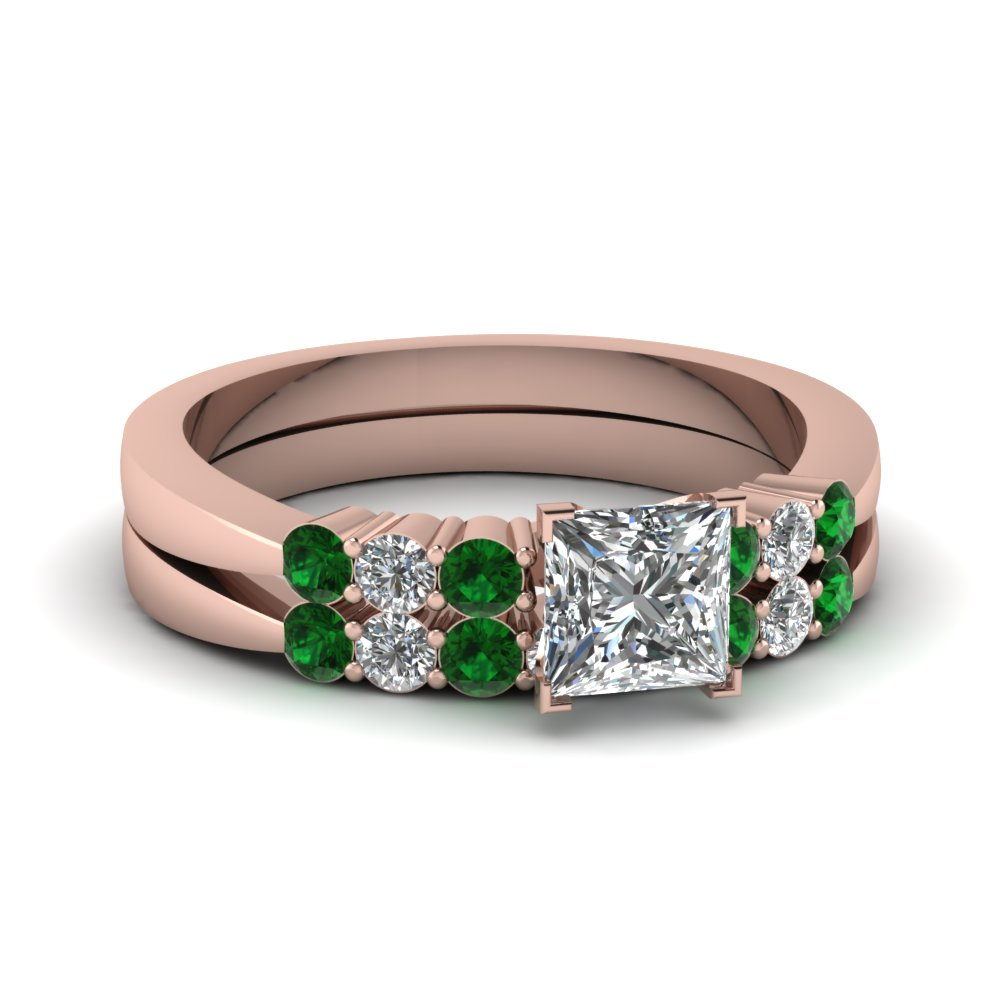 princess cut tapered 7 stone wedding ring set with emerald in FDENS750PRGEMGR NL RG