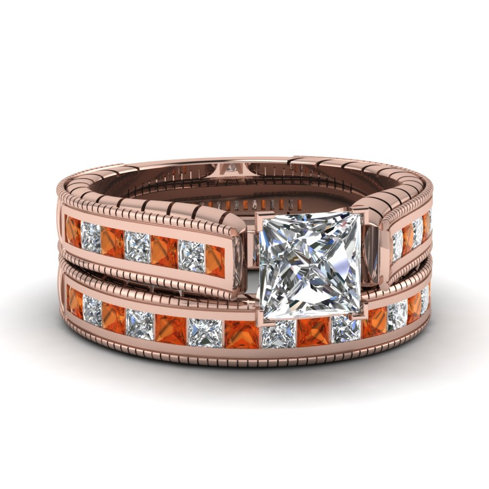 princess cut cathedral vintage diamond wedding ring set with orange sapphire in FDENS3222PRGSAOR NL RG