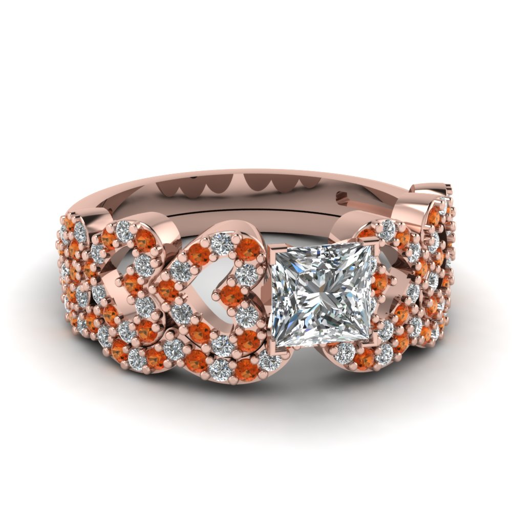 princess cut heart design linked diamond wedding set with orange sapphire in FDENS3051PRGSAOR NL RG.jpg