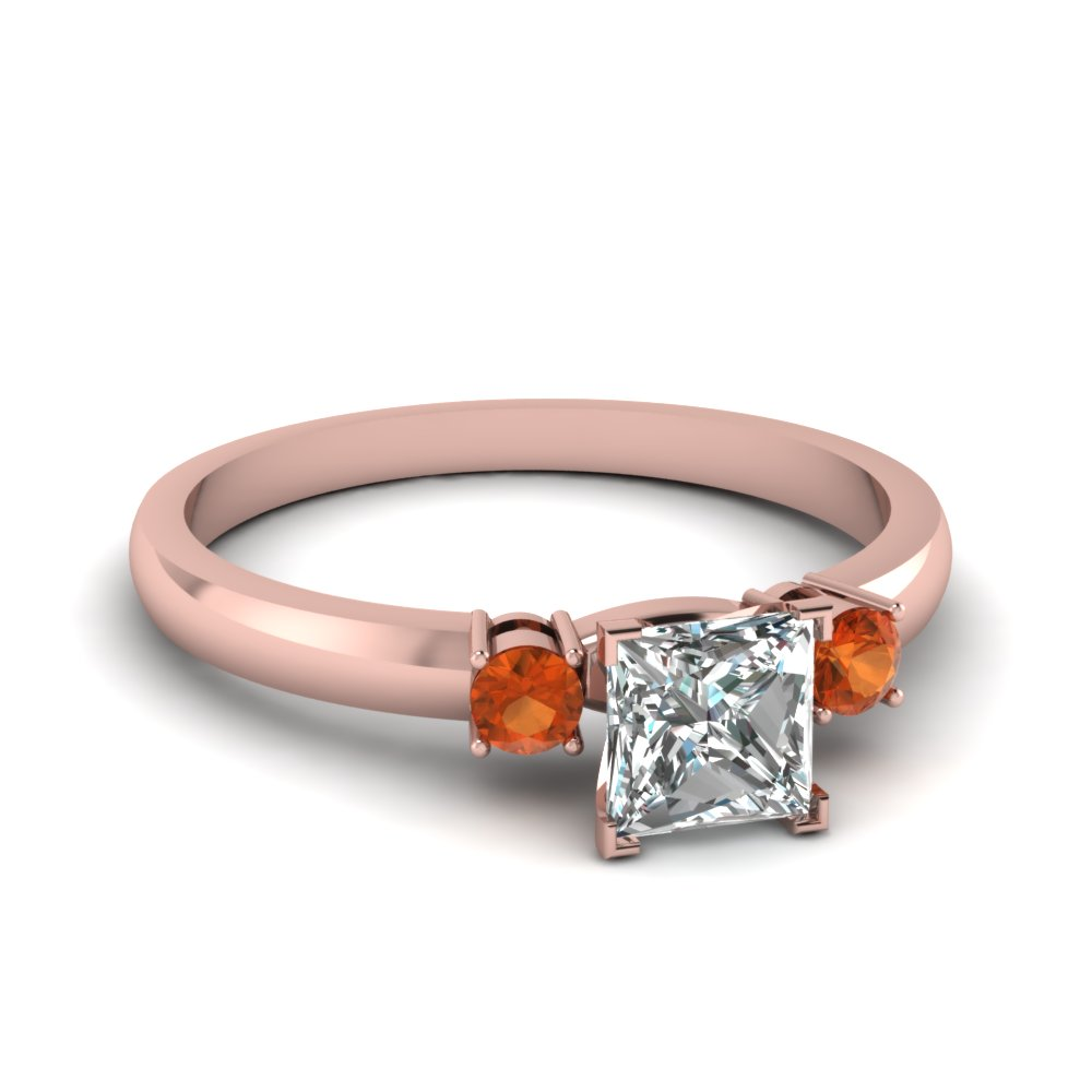 basket prong princess cut diamond 3 stone ring with orange sapphire in FDENS3106PRRGSAOR NL RG