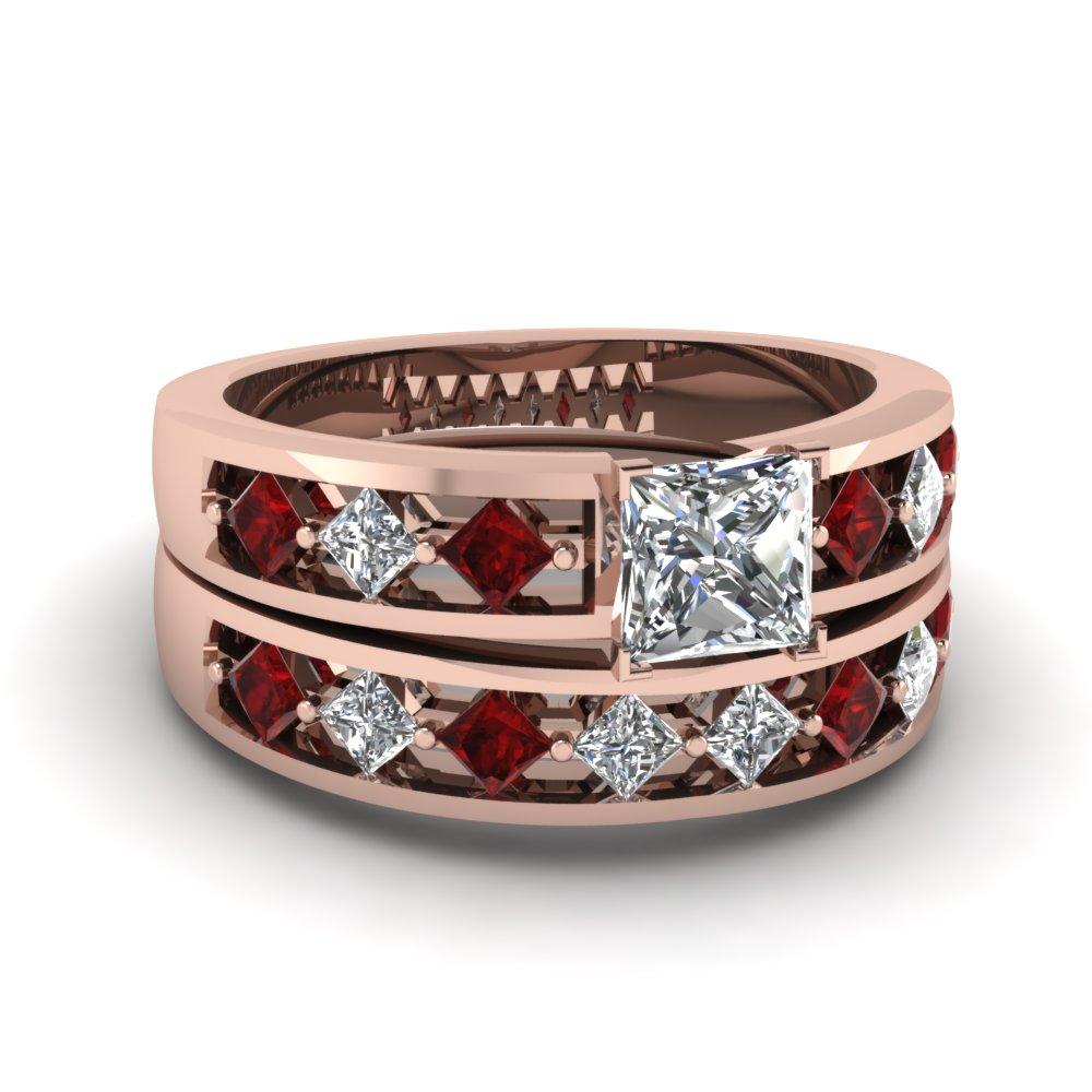 kite setting princess cut diamond wedding ring set with ruby in FDENS1828PRGRUDR Nl RG