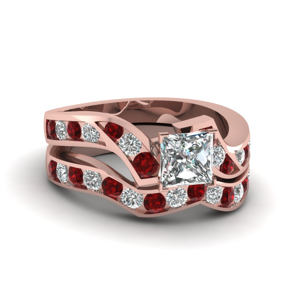 princess cut diamond channel twisted wedding ring set with ruby in FDENS510PRGRUDR NL RG