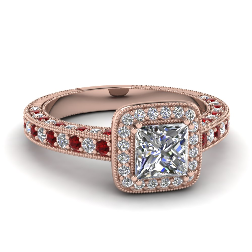 Princess cut Square Halo Engagement Ring With Rubies