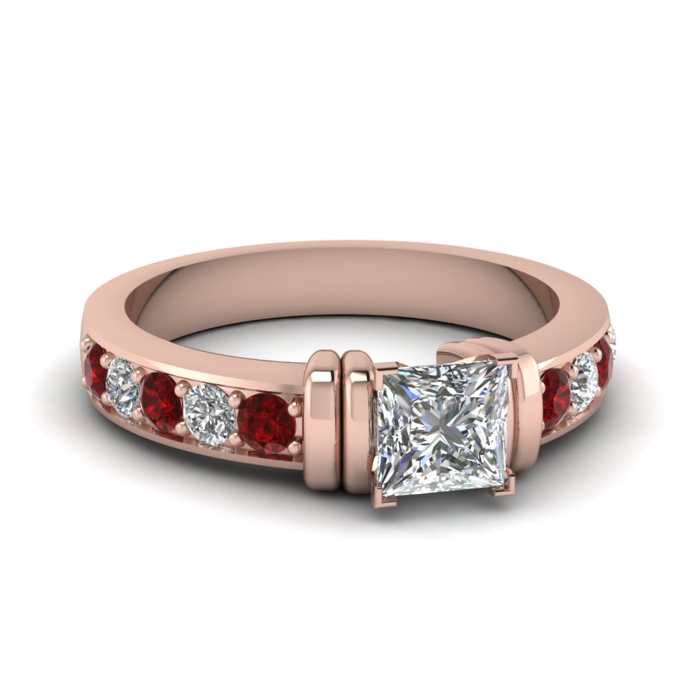 simple bar set princess cut diamond engagement ring with ruby in FDENR957PRRGRUDR Nl RG