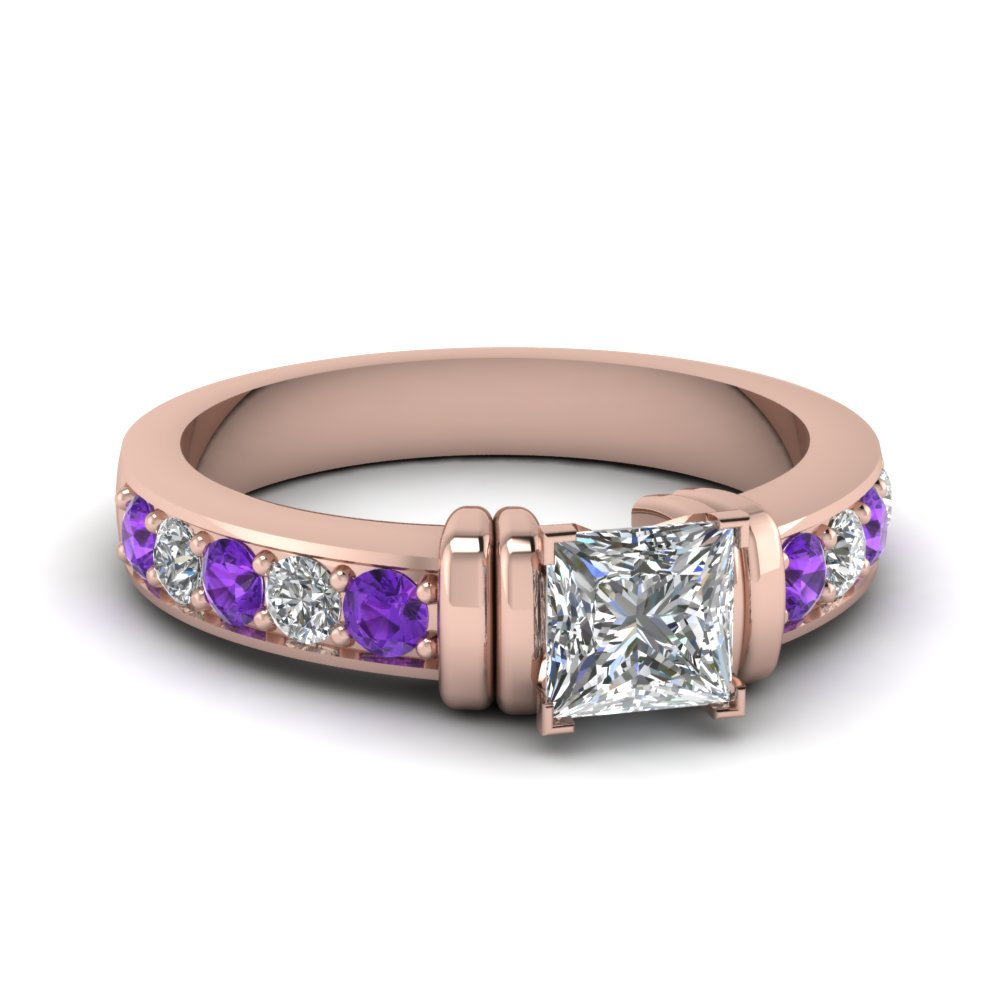 Simple Bar Set Princess Cut Diamond Engagement Ring With Violet Topaz In 14K Rose Gold