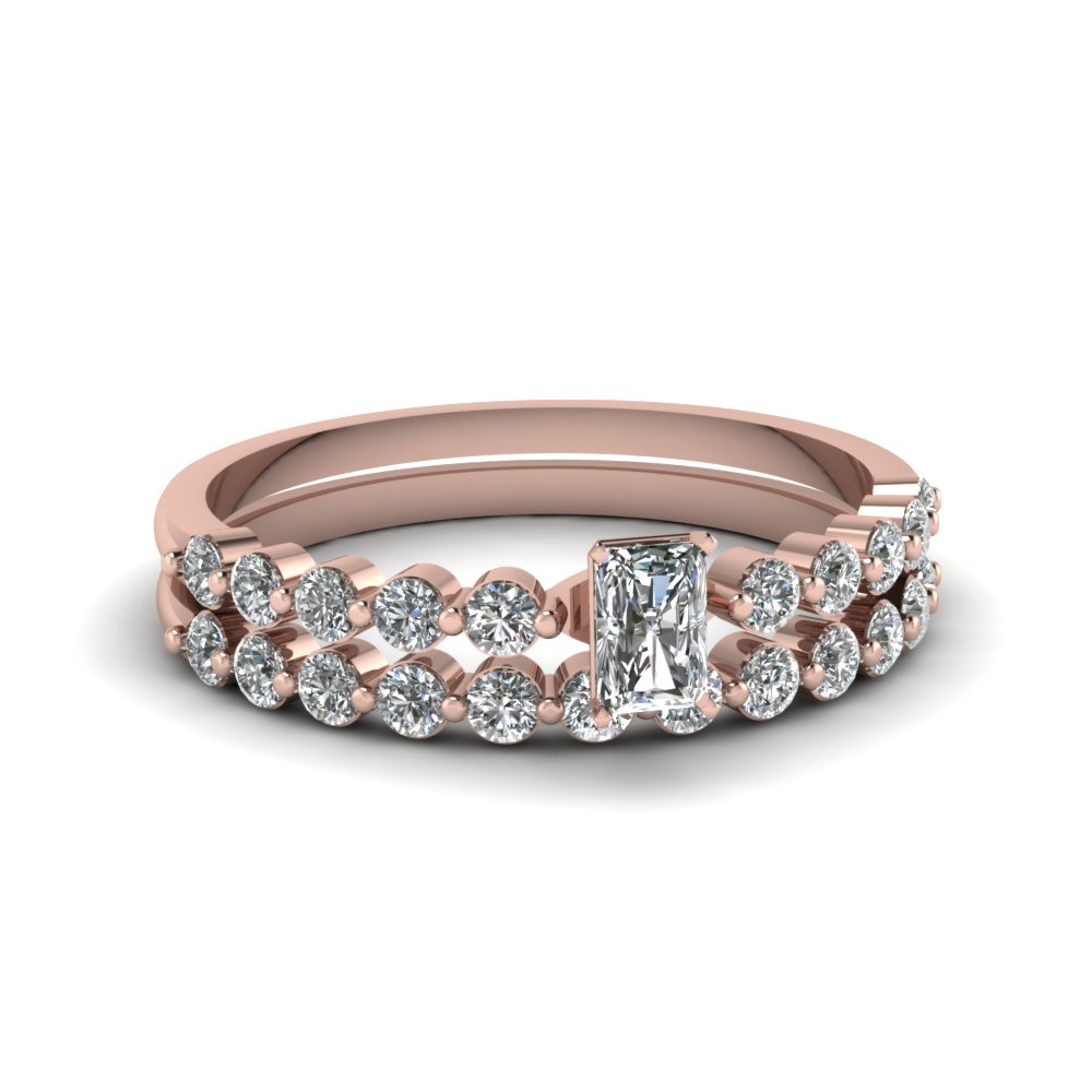 Beautiful Wedding Ring Set Pink Gold