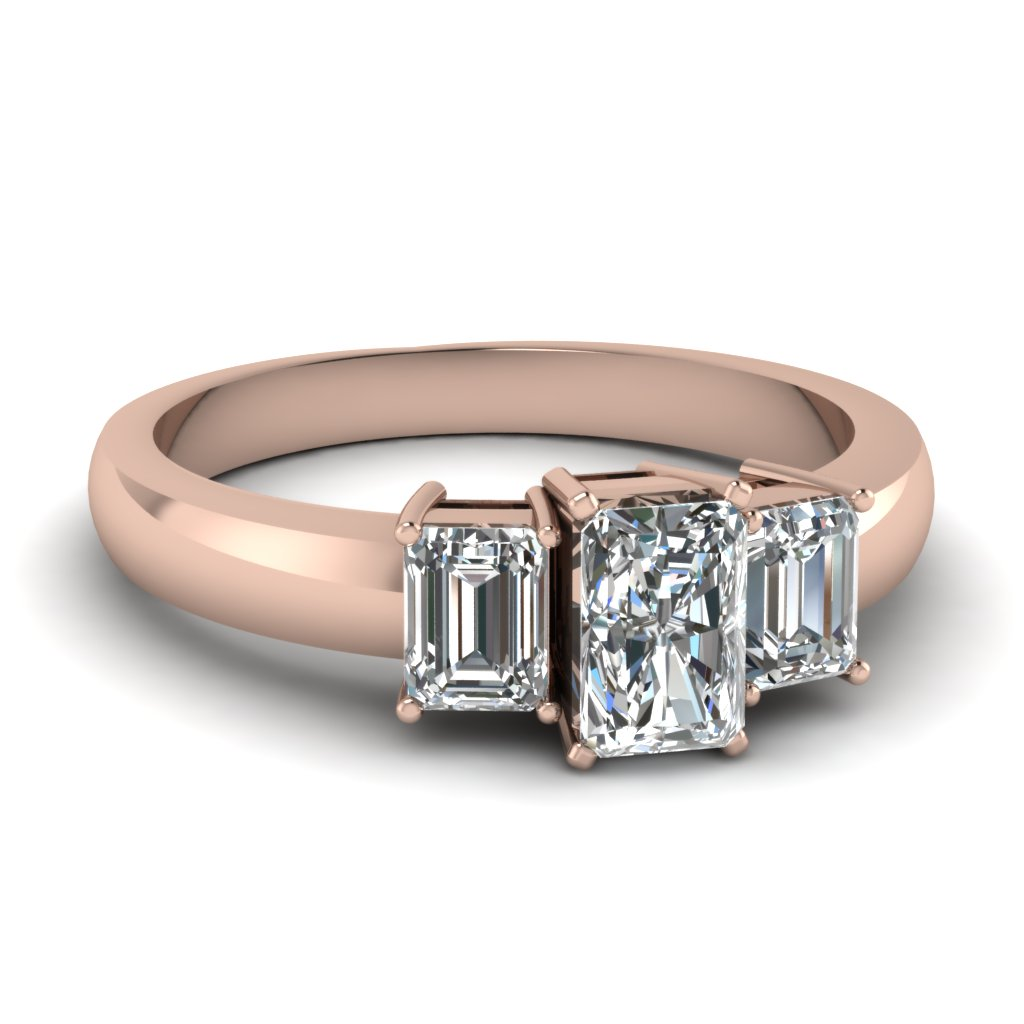 18K Rose Gold Three Stone Ring