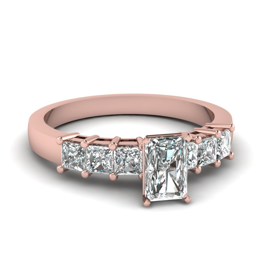 Side Stone Engagement Ring With Radiant Cut Diamond In Rose Gold