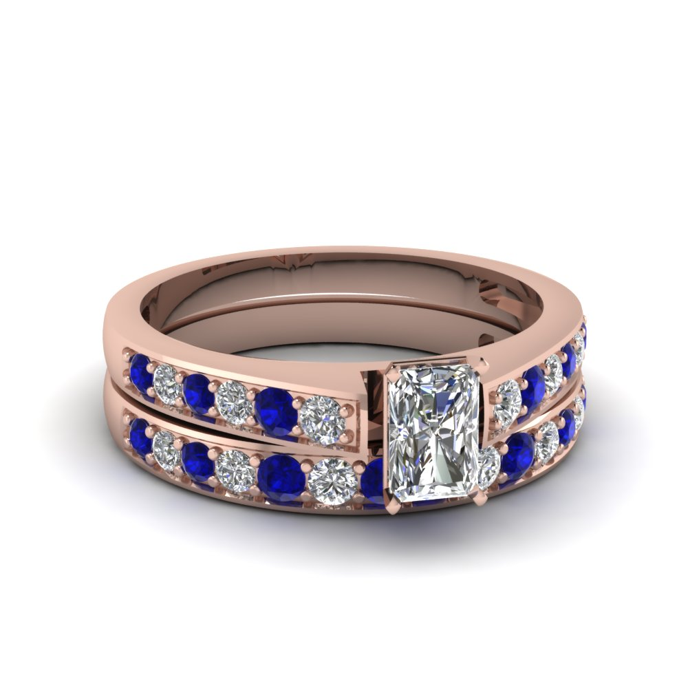 radiant cut pave diamond wedding ring set with sapphire in FDENS3002RAGSABL NL RG 30