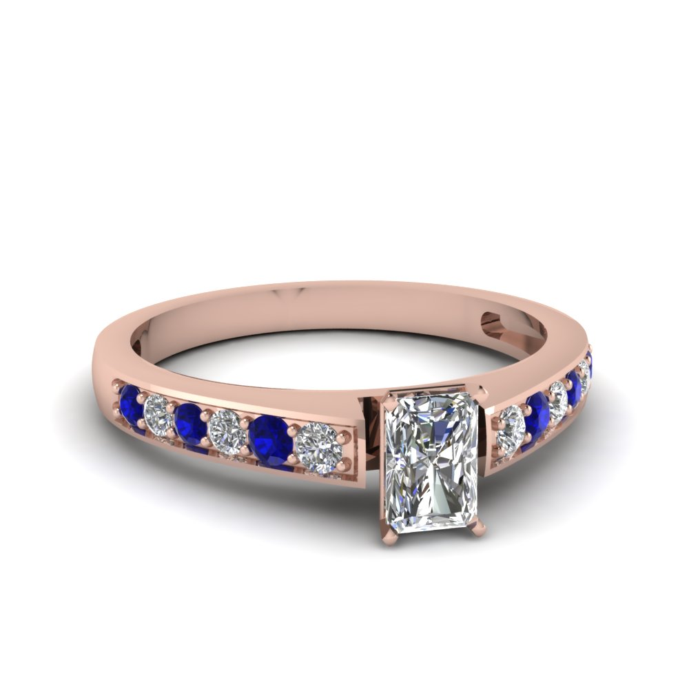 radiant cut pave diamond engagement ring with sapphire in FDENS3002RARGSABL NL RG 30