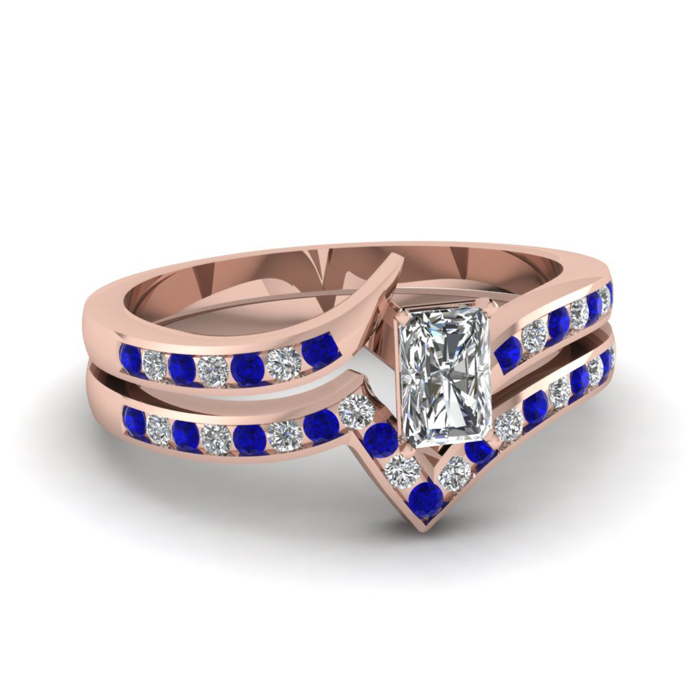 Radiant Wedding Set With Sapphire