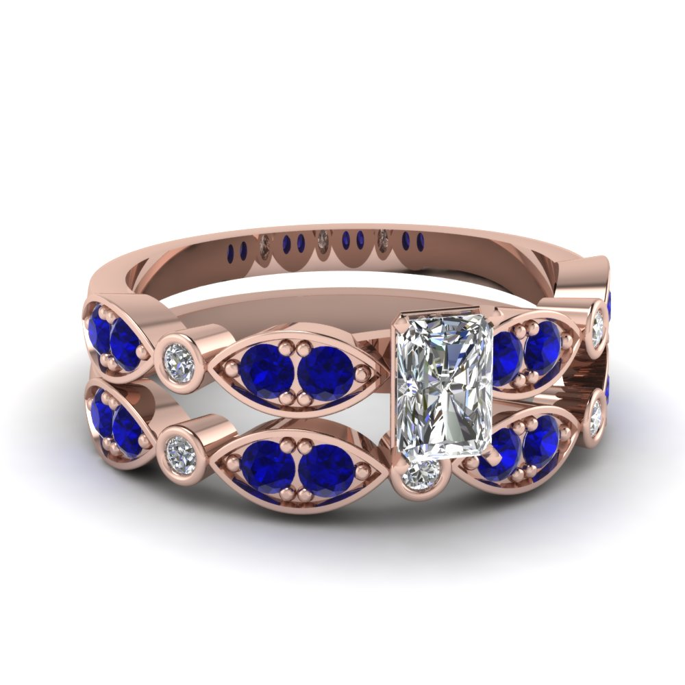 art deco radiant diamond wedding ring set with sapphire in FDENS2035RAGSABL NL RG