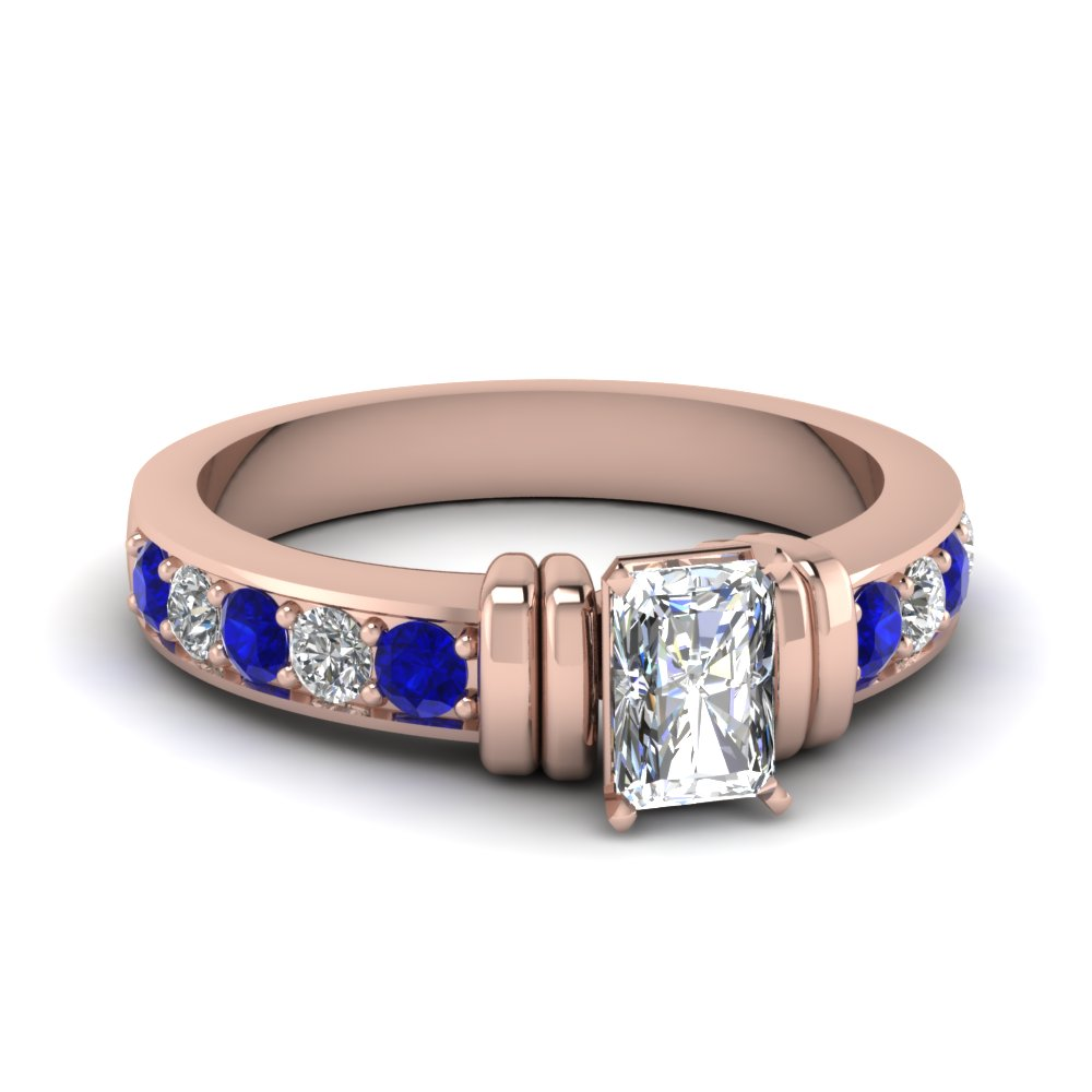 simple bar set radiant diamond engagement ring with sapphire in FDENR957RARGSABL Nl RG