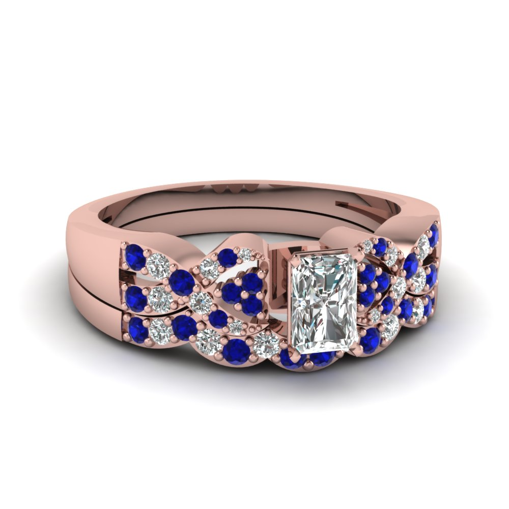 Radiant Diamond Blue Sapphire Wedding Ring Set