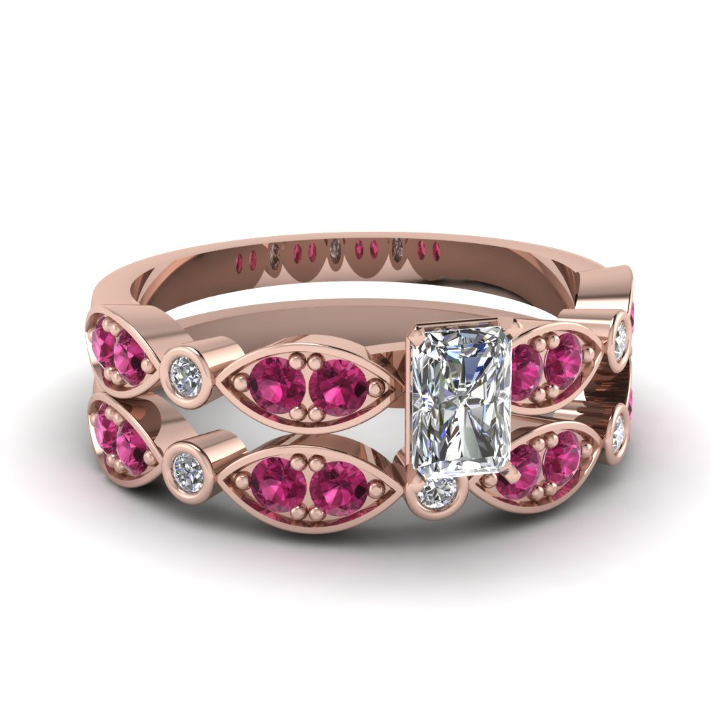 art deco radiant diamond wedding ring set with pink sapphire in FDENS2035RAGSADRPI NL RG