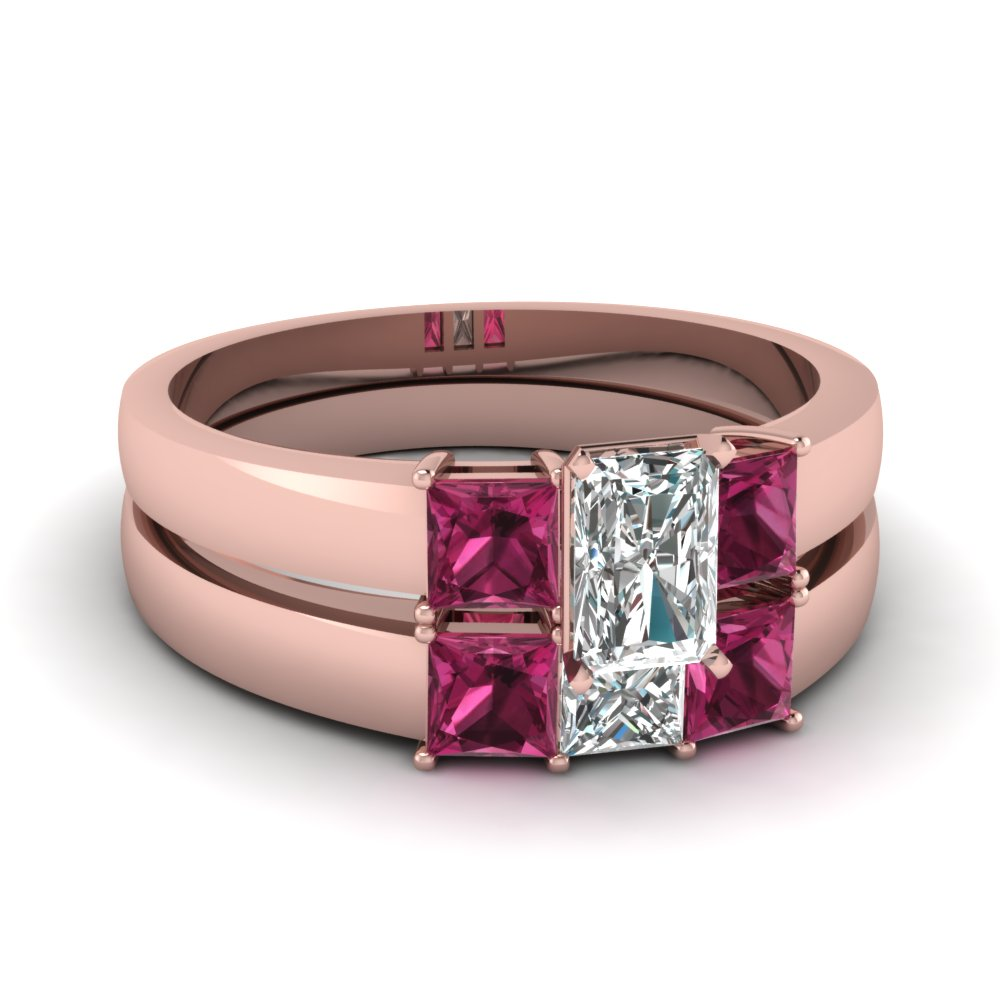Radiant Diamond Wedding Ring Set with Pink Sapphires