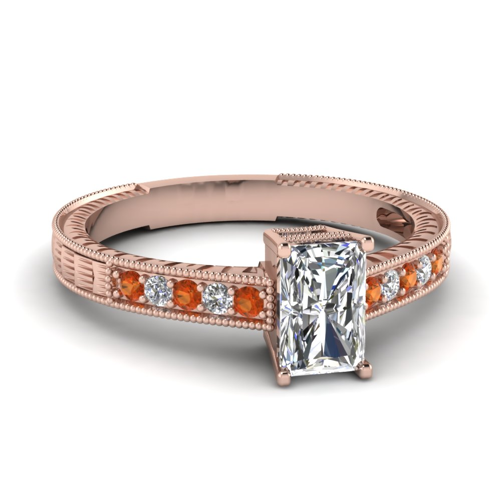 radiant cut antique engraved diamond engagement ring with orange sapphire in FDENR660RARGSAOR NL RG