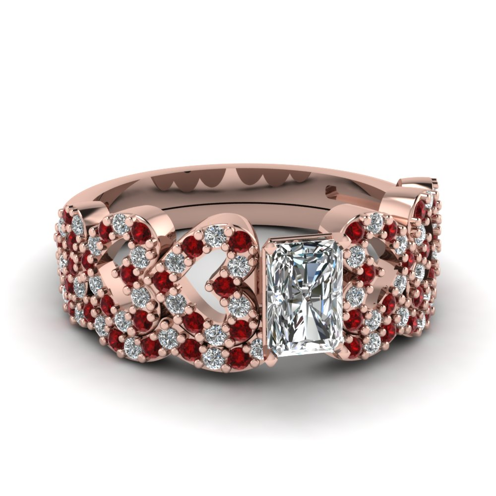 radiant cut heart design linked diamond wedding set with ruby in FDENS3051RAGRUDR NL RG.jpg