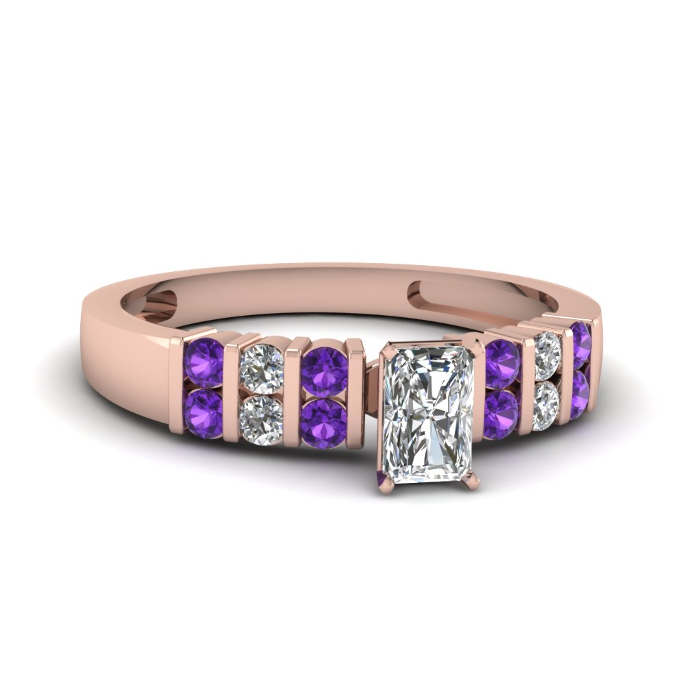 Purple Topaz Radiant Bar Set Ring