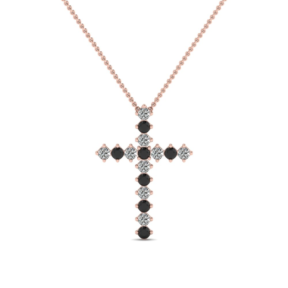 rose-gold-round-black-diamond-cross-religious-pendant-with-white-diamond-in-prong-set-FDRPD203GBLACK-NL-RG
