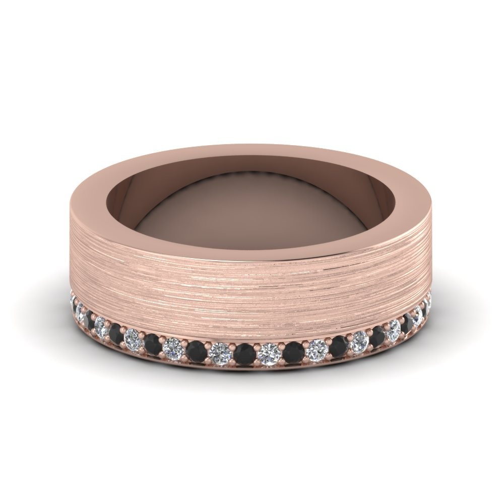 rose gold round black diamond mens wedding band with white diamond