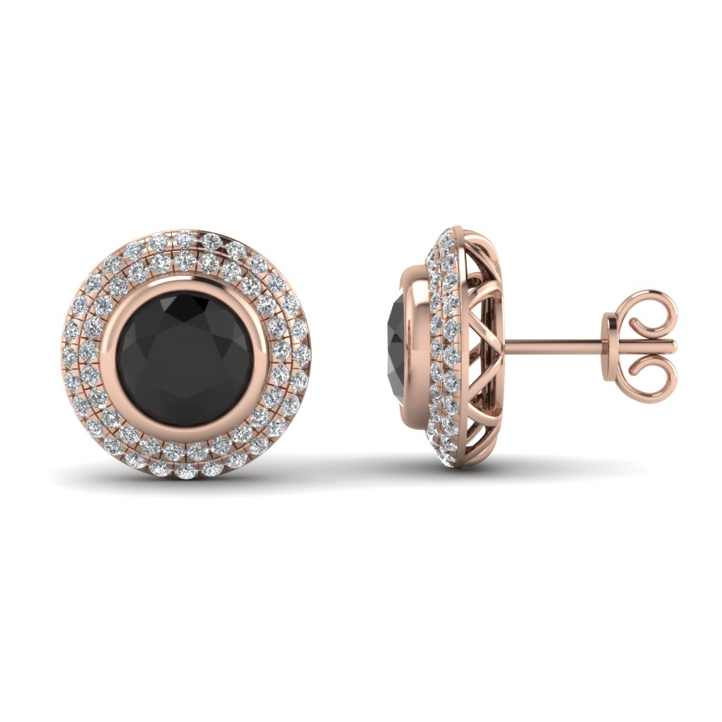 Rose Gold Round Black Diamond Stud Earrings With