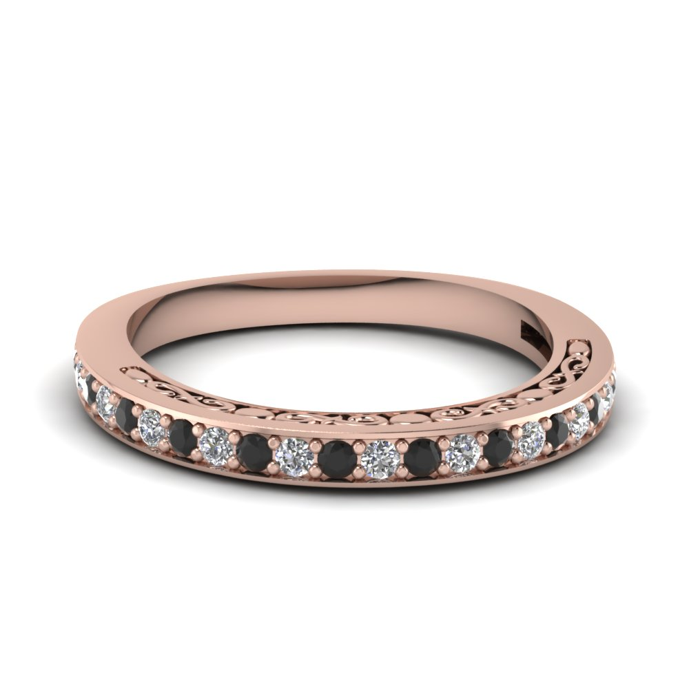 womens wedding bands with black diamond in 14k rose gold - Black Diamond Wedding Rings For Women