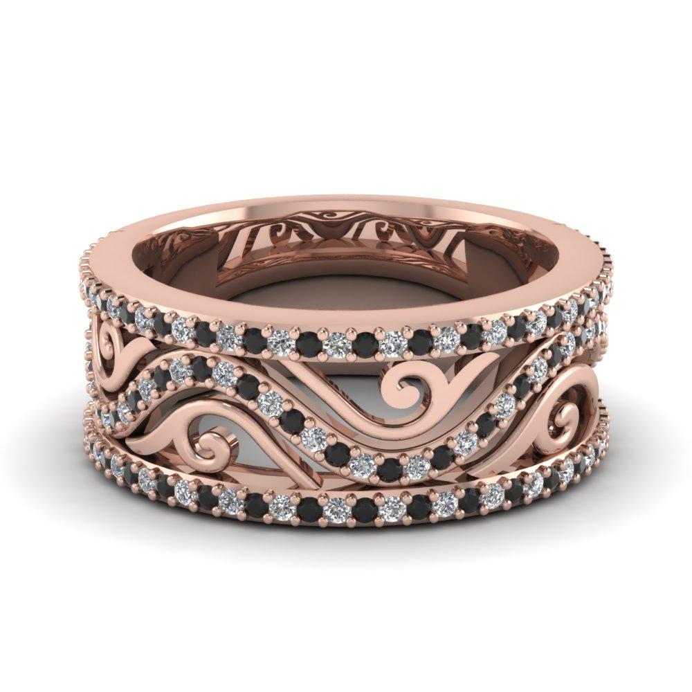 rose gold round black diamond wedding band with white diamond in