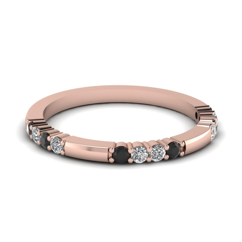 Delicate Black Diamond Wedding Band In 14K Rose Gold Fascinating