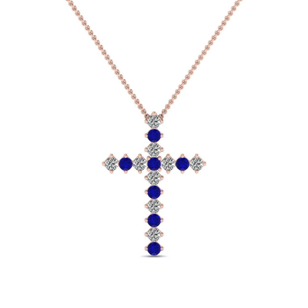 rose-gold-round-blue-sapphire-cross-religious-pendant-with-white-diamond-in-prong-set-FDRPD203GSABL-NL-RG