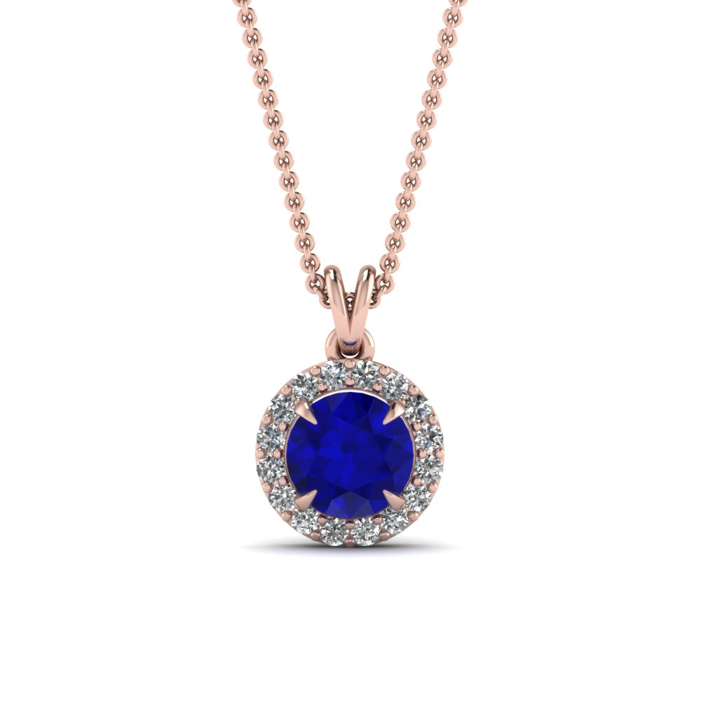 sapphire halo pendant diamond necklace in FDPD2992GSABL Nl RG