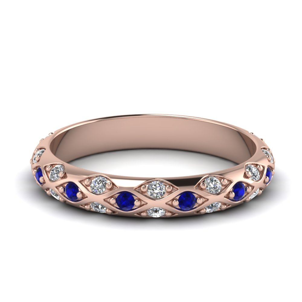 Rose Gold Round Blue Sapphire Wedding Band With White Diamond In ...