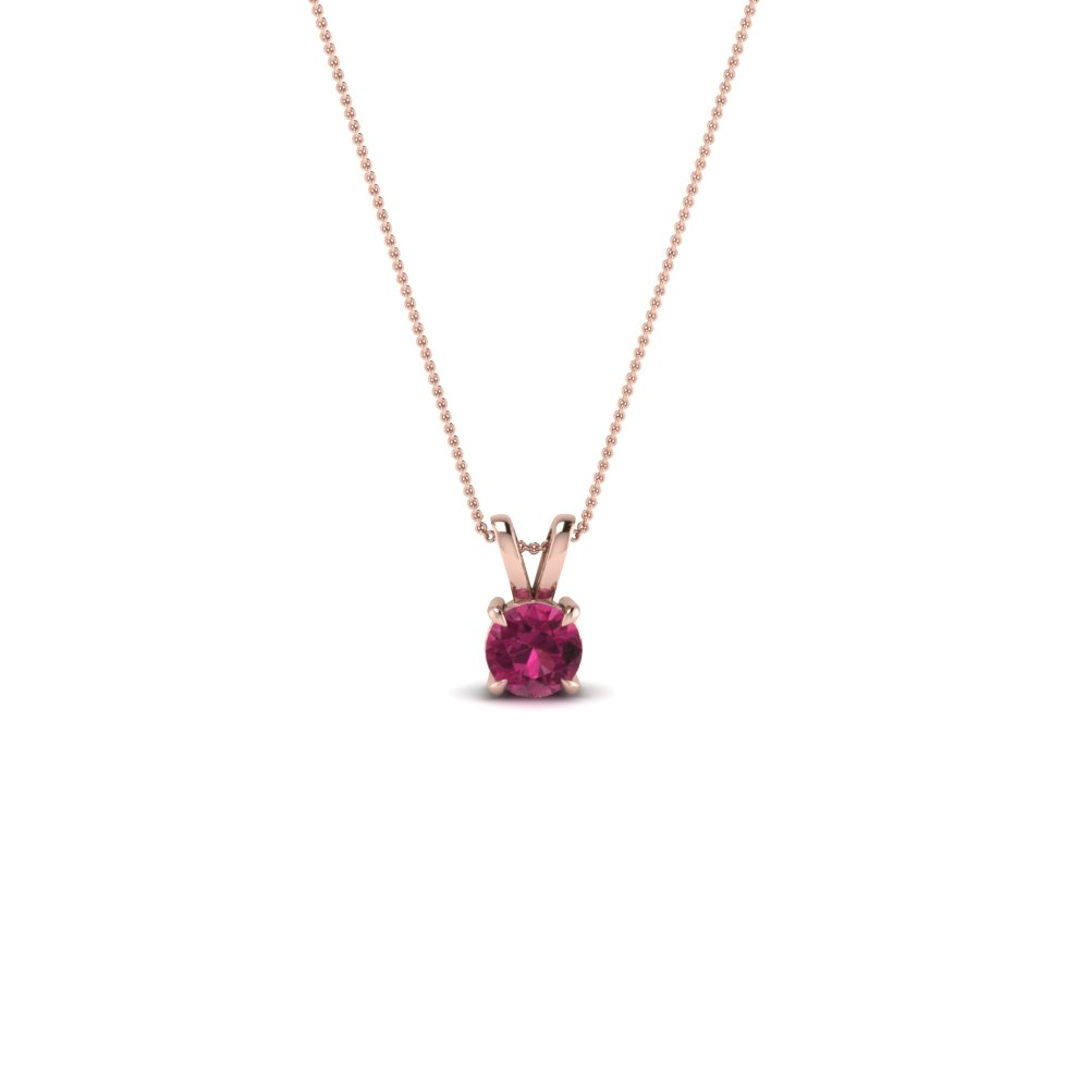 Single Round Pink Sapphire Pendant For Her
