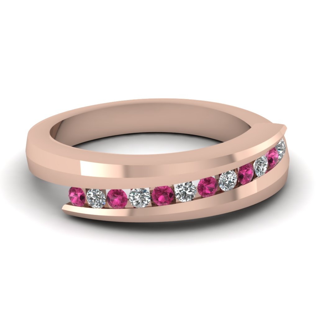 Imperial Channel Bands with Pink Sapphire