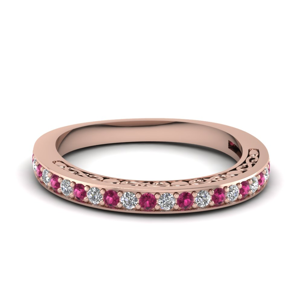Rose Gold Pink Sapphire Womens Band