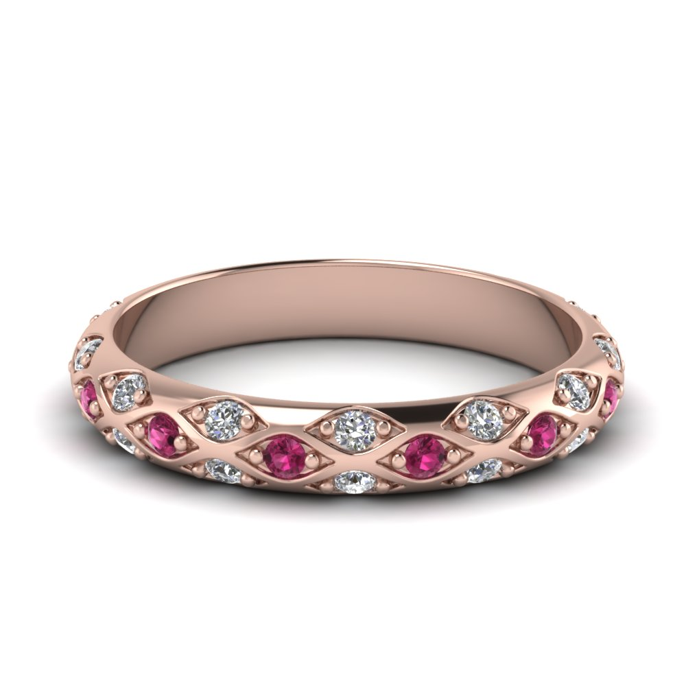 pave cross diamond wedding band with pink sapphire in 14K rose gold FD121962BGSADRPI NL RG