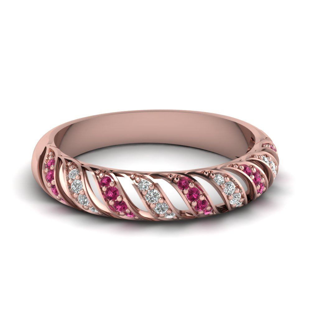 pink sapphire rope design diamond wedding band in FD67809BGSADRPI NL RG