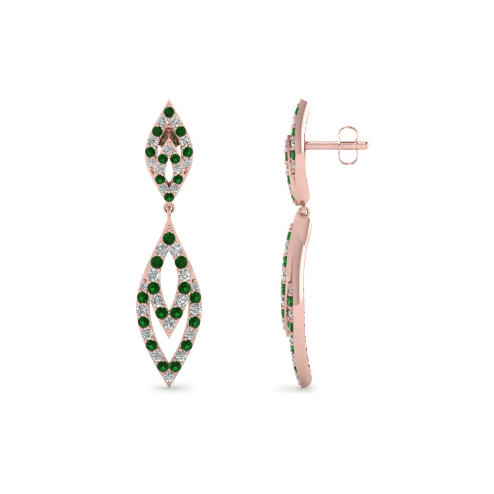 marquise design diamond drop earring with emerald in FDEAR67099GEMGR NL RG