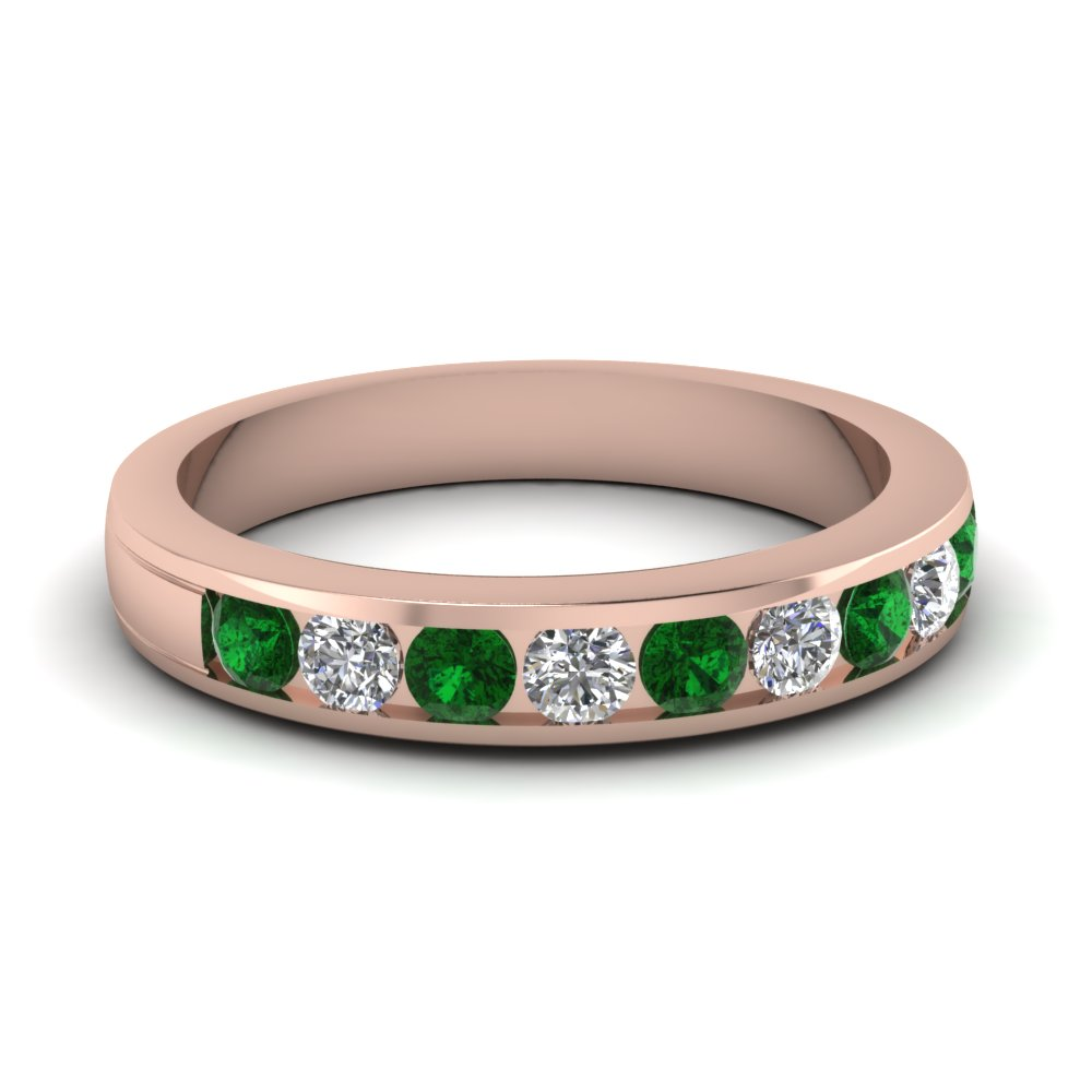 round diamond channel wedding band with emerald in FD1028BGEMGR NL RG