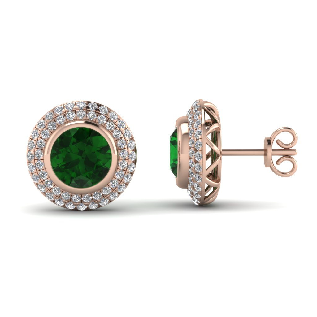 Rose Gold Round Green Emerald Stud Earrings With