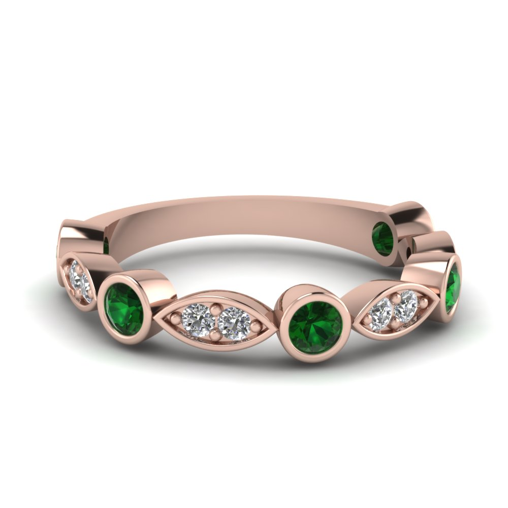 Bezel Set Emerald Women Band
