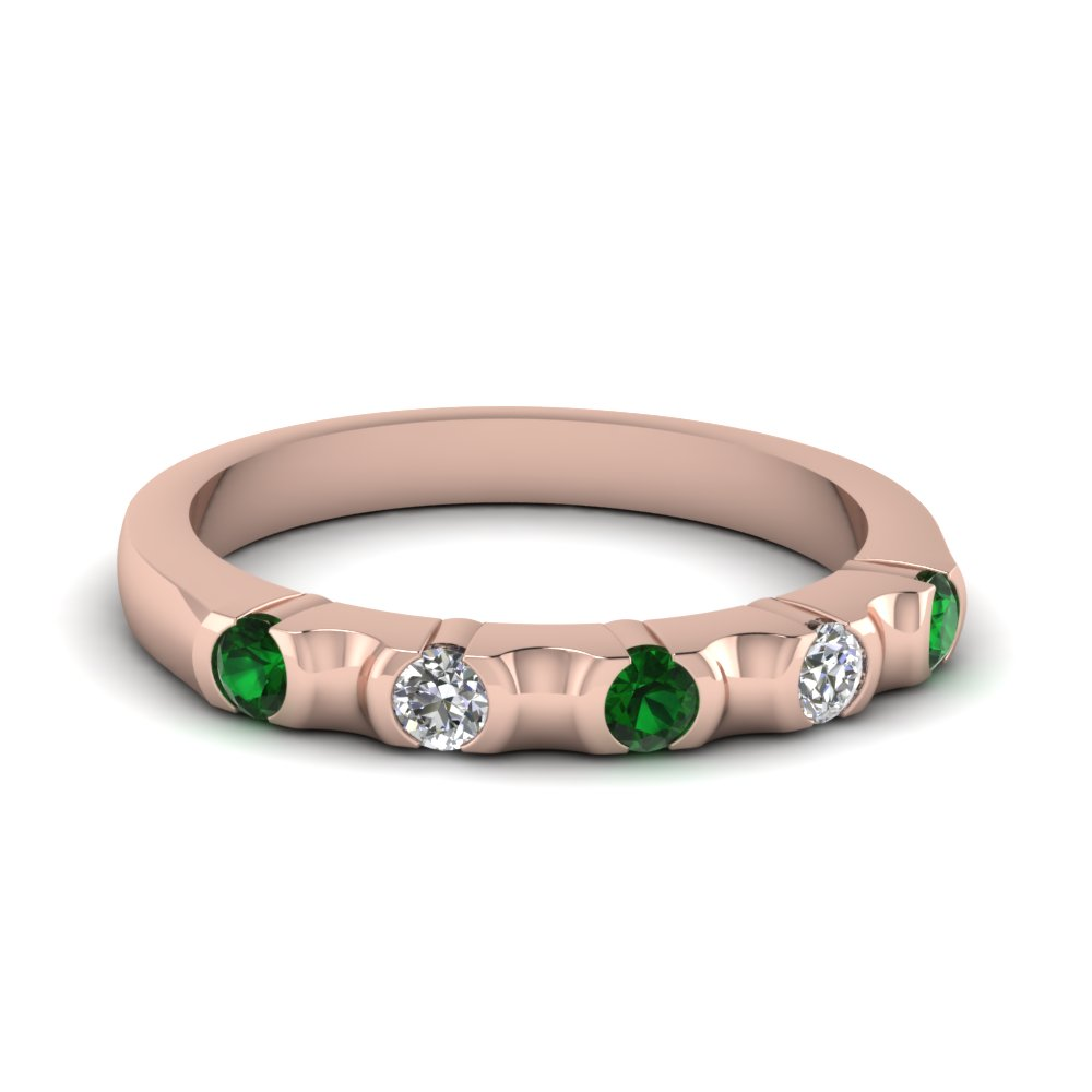 half bezel 5 stone wedding band with emerald in FD120316BGEMGR NL RG