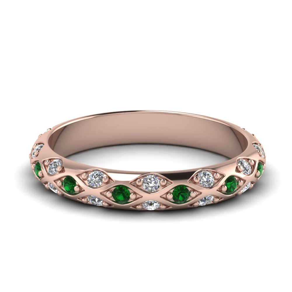 pave cross diamond wedding band with emerald in 14K rose gold FD121962BGEMGR NL RG