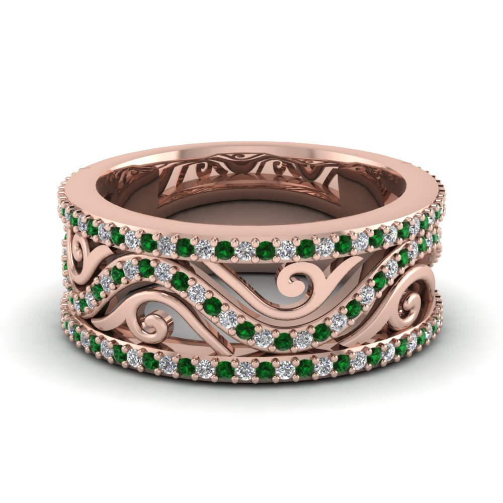 Emerald Filigree Wide Diamond Band